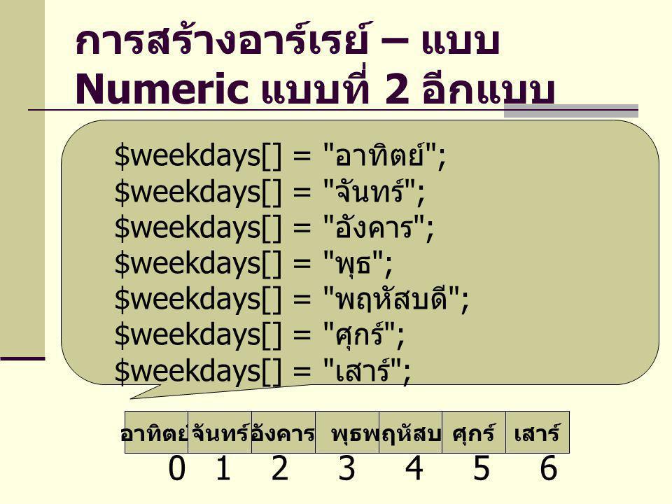 การสร้างอาร์เรย์ – แบบ Associative แบบที่ 1 อาทิตย์จันทร์อังคารพุธพฤหัสบดีศุกร์เสาร์ sunmontue wed thu fri sat $weekdays2 = array( sun => อาทิตย์ , mon => จันทร์ , tue => อังคาร , wed => พุธ , thu => พฤหัสบดี , fri => ศุกร์ , sat => เสาร์ );
