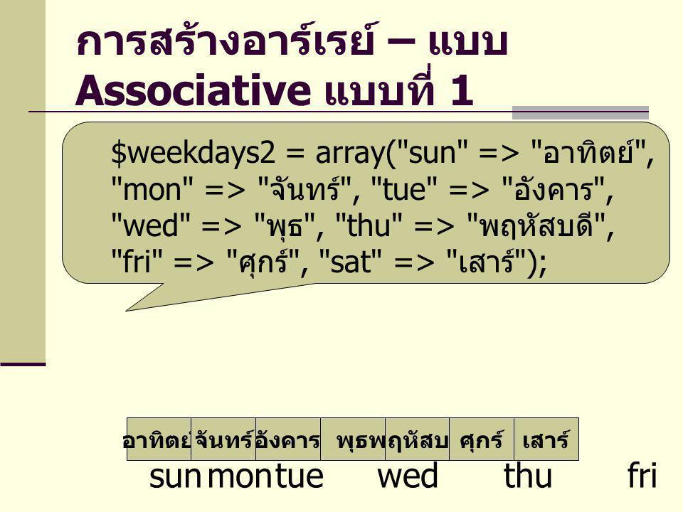 การสร้างอาร์เรย์ – แบบ Associative แบบที่ 2 อาทิตย์จันทร์อังคารพุธพฤหัสบดีศุกร์เสาร์ sunmontue wed thu fri sat $weekdays3[ sun ] = อาทิตย์ ; $weekdays3[ mon ] = จันทร์ ; $weekdays3[ tue ] = อังคาร ; $weekdays3[ wed ] = พุธ ; $weekdays3[ thu ] = พฤหัสบดี ; $weekdays3[ fri ] = ศุกร์ ; $weekdays3[ sat ] = เสาร์ ;