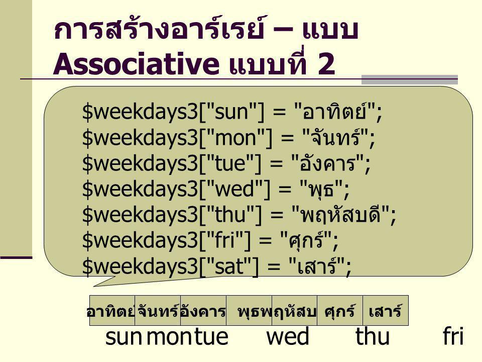การสร้างอาร์เรย์ – แบบ Associative แบบที่ 2 อาทิตย์จันทร์อังคารพุธพฤหัสบดีศุกร์เสาร์ sunmontue wed thu fri sat $weekdays3[