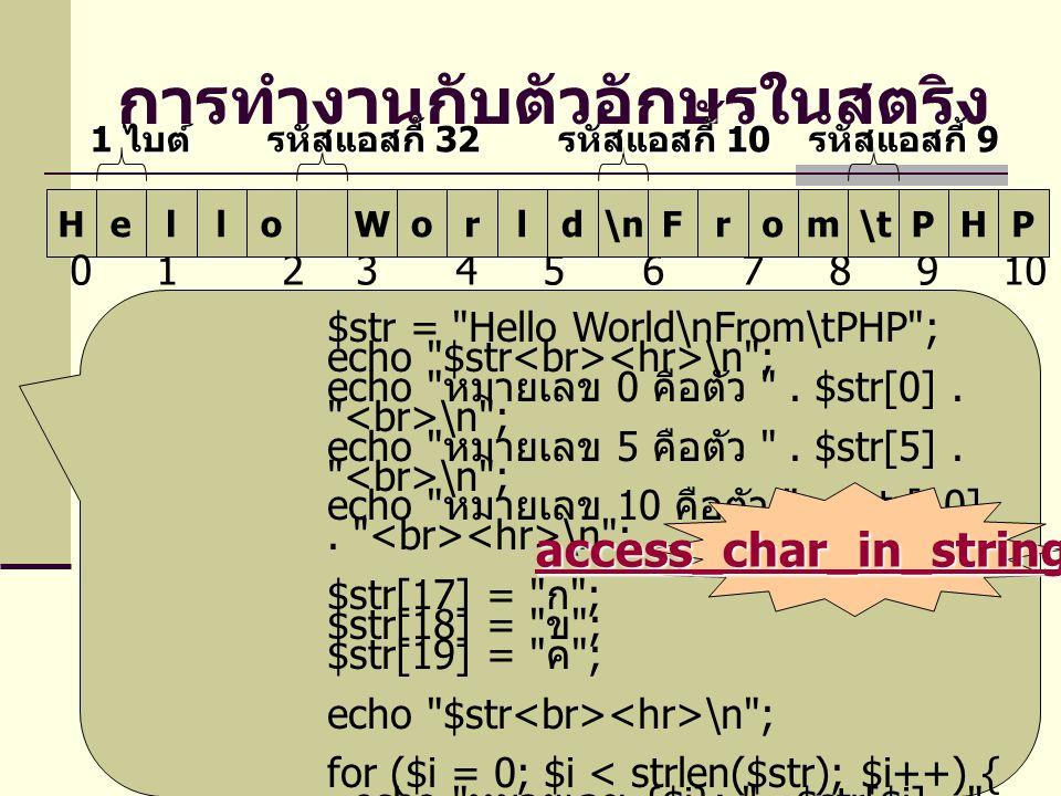 การทำงานกับตัวอักษรในสตริง H 0 1 2 3 4 5 6 7 8 9 10 11 12 13 14 15 16 17 18 19 elloWorld\nFrom\tPHP 1 ไบต์ รหัสแอสกี้ 32 รหัสแอสกี้ 10 รหัสแอสกี้ 9 $str = Hello World\nFrom\tPHP ; echo $str \n ; echo หมายเลข 0 คือตัว .