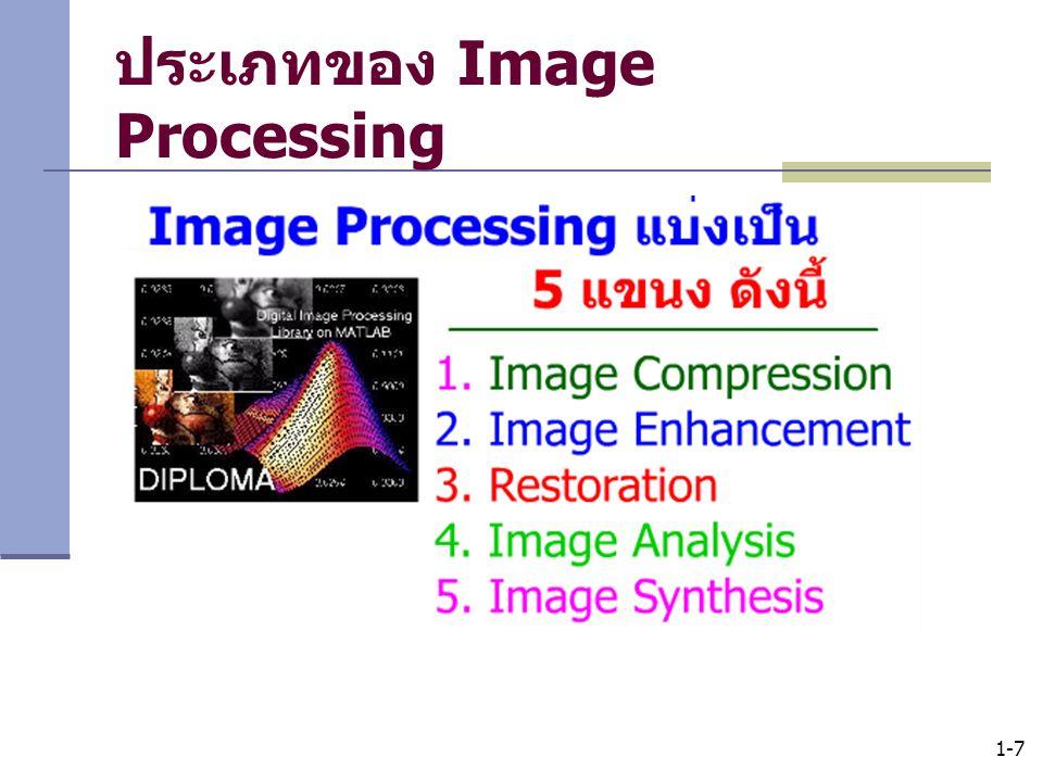 1-8 Image Compression เป็นการบีบอัดภาพกราฟิกส์ เพื่อให้ภาพมี ขนาดเล็กในการจัดเก็บ ในสมัยก่อนไฟล์ภาพจะเป็น bmp ซึ่งใช้เนื้อ ที่ในการจัดเก็บมาก คุณภาพจะลดลงตามค่าบีบอัด
