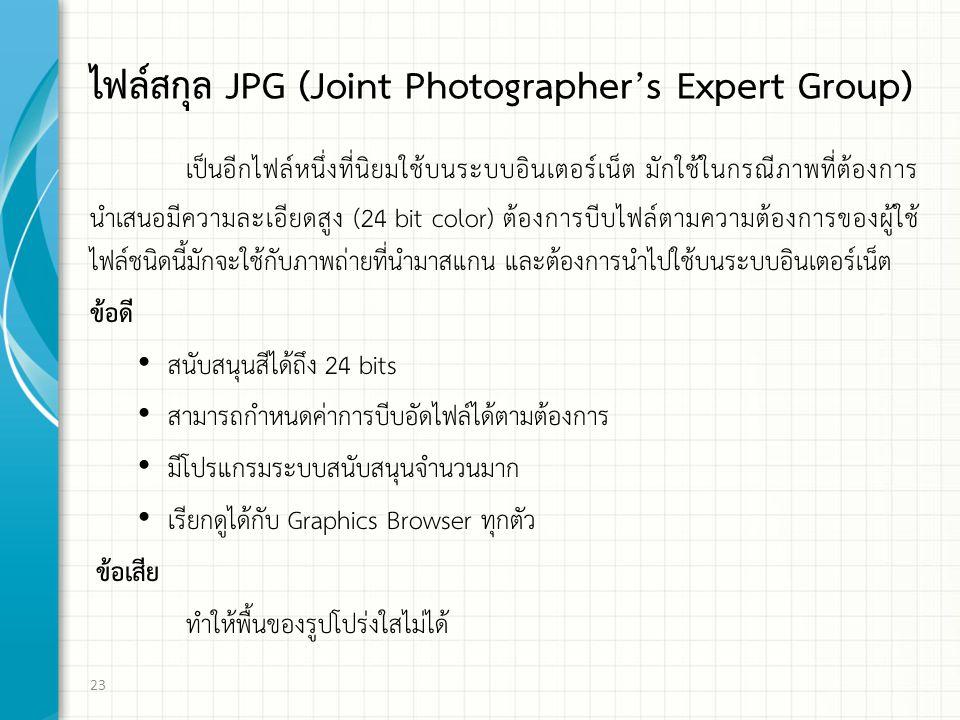 ไฟล์สกุล JPG (Joint Photographer's Expert Group) เป็นอีกไฟล์หนึ่งที่นิยมใช้บนระบบอินเตอร์เน็ต มักใช้ในกรณีภาพที่ต้องการ นำเสนอมีความละเอียดสูง (24 bit color) ต้องการบีบไฟล์ตามความต้องการของผู้ใช้ ไฟล์ชนิดนี้มักจะใช้กับภาพถ่ายที่นำมาสแกน และต้องการนำไปใช้บนระบบอินเตอร์เน็ต ข้อดี สนับสนุนสีได้ถึง 24 bits สามารถกำหนดค่าการบีบอัดไฟล์ได้ตามต้องการ มีโปรแกรมระบบสนับสนุนจำนวนมาก เรียกดูได้กับ Graphics Browser ทุกตัว ข้อเสีย ทำให้พื้นของรูปโปร่งใสไม่ได้ 23