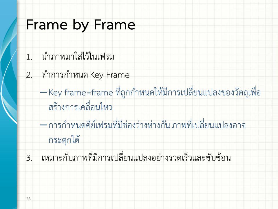 Frame by Frame 1. นำภาพมาใส่ไว้ในเฟรม 2. ทำการกำหนด Key Frame – Key frame=frame ที่ถูกกำหนดให้มีการเปลี่ยนแปลงของวัตถุเพื่อ สร้างการเคลื่อนไหว – การกำ