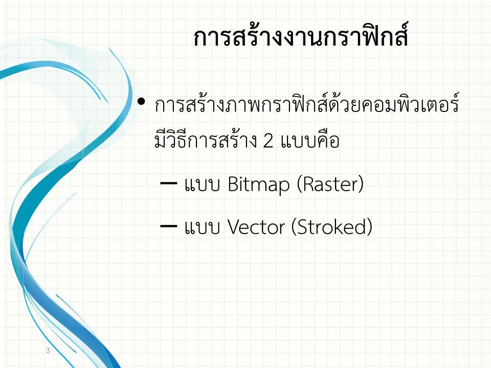 การสร้างภาพกราฟิกส์ด้วยคอมพิวเตอร์ มีวิธีการสร้าง 2 แบบคือ – แบบ Bitmap (Raster) – แบบ Vector (Stroked) 3