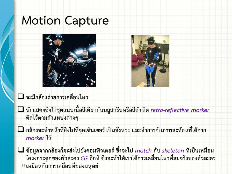 Motion Capture  จะมีกล้องถ่ายการเคลื่อนไหว  นักแสดงซึ่งใส่ชุดแนบเนื้อสีเดียวกับบลูสกรีนหรือสีดำ ติด retro-reflective marker ติดไว้ตามตำแหน่งต่างๆ  กล้องจะทำหน้าที่ยิงไปที่จุดเซ็นเซอร์ เป็นจังหวะ และทำการจับภาพสะท้อนที่ได้จาก marker ไว้  ข้อมูลจากกล้องก็จะส่งไปยังคอมพิวเตอร์ ซึ่งจะไป match กับ skeleton ที่เป็นเหมือน โครงกระดูกของตัวละคร CG อีกที ซึ่งจะทำให้เราได้การเคลื่อนไหวที่สมจริงของตัวละคร เหมือนกับการเคลื่อนที่ของมนุษย์ 35