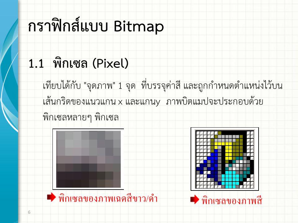 กราฟิกส์แบบ Bitmap 1.1 พิกเซล (Pixel) เทียบไดกับ จุดภาพ 1 จุด ที่บรรจุคาสี และถูกกําหนดตําแหนงไวบน เสนกริดของแนวแกน x และแกนy ภาพบิตแมปจะประกอบดวย พิกเซลหลายๆ พิกเซล 6 พิกเซลของภาพเฉดสีขาว / ดํา พิกเซลของภาพสี