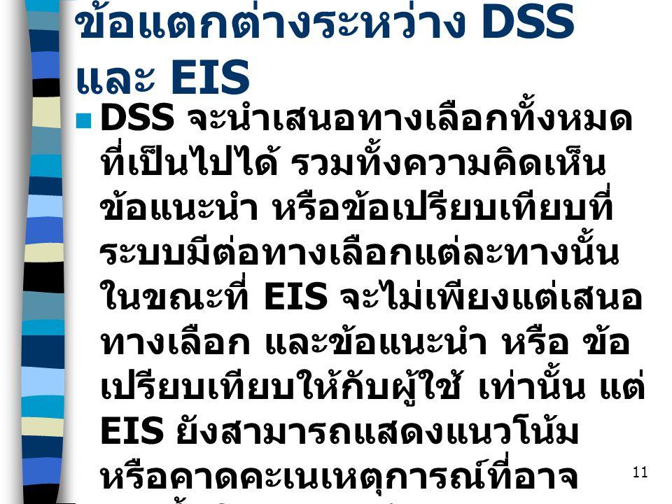 11 ข้อแตกต่างระหว่าง DSS และ EIS DSS จะนำเสนอทางเลือกทั้งหมด ที่เป็นไปได้ รวมทั้งความคิดเห็น ข้อแนะนำ หรือข้อเปรียบเทียบที่ ระบบมีต่อทางเลือกแต่ละทางน
