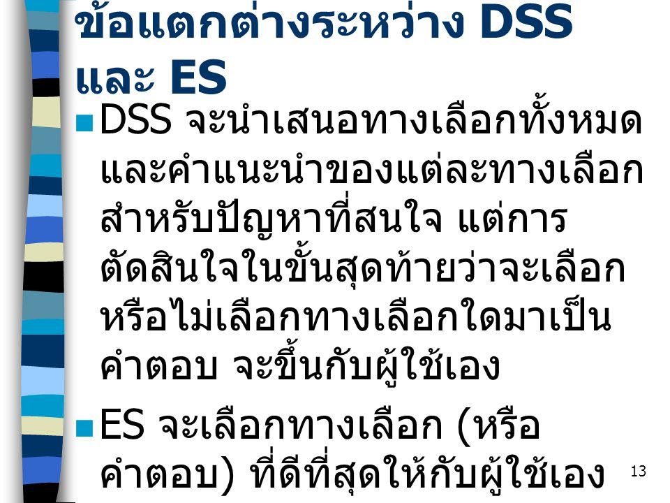 13 ข้อแตกต่างระหว่าง DSS และ ES DSS จะนำเสนอทางเลือกทั้งหมด และคำแนะนำของแต่ละทางเลือก สำหรับปัญหาที่สนใจ แต่การ ตัดสินใจในขั้นสุดท้ายว่าจะเลือก หรือไ