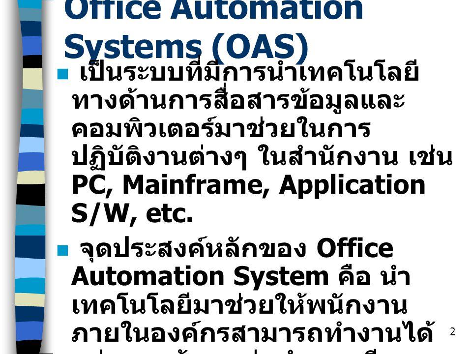 3 Office Automation Systems ( ต่อ ) ส่วนมาก Office Automation Systems จะใช้ซอฟต์แวร์สำเร็จรูป (Packaging S/W) มากกว่าที่จะใช้ ซอฟต์แวร์ที่ต้องเขียนขึ้นมาใหม่ เอง (Customized S/W) เช่น ระบบ E-mail, การรับส่งแฟกซ์, Word Processor, Spreadsheet, etc.