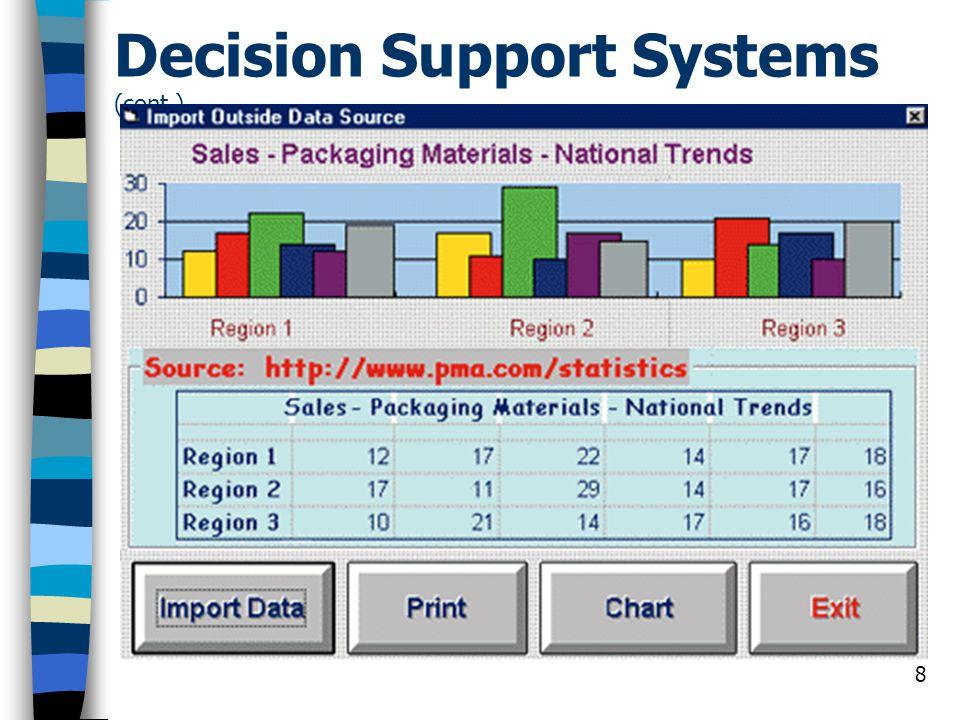 9 ข้อแตกต่างระหว่างระบบ MIS และ DSS สารสนเทศที่ได้จาก MIS จะใช้ในการ ตัดสินปัญหาที่มีโครงสร้าง (Structured Problem) ในขณะที่ สารสนเทศที่ได้จาก DSS จะใช้ในการ ตัดสินปัญหากึ่งโครงสร้าง (Semi- Structured Problem) หรือ ปัญหาที่ ไม่มีโครงสร้าง (Unstructured Problem) MIS จะผลิตสารสนเทศในลักษณะที่ เน้น หรือแสดงให้เห็นถึงความจริงที่ ซ่อนอยู่ภายในข้อมูลเหล่านั้น ในขณะ ที่ DSS จะแสดงทางเลือกทั้งหมดที่ เป็นไปได้ สำหรับปัญหาใดๆที่สนใจ พร้อมทั้งให้คำแนะนำ / ข้อเปรียบเทียบ สำหรับแต่ละทางเลือกนั้น โดยผู้ใช้ สามารถใช้ข้อมูลดังกล่าวในการ ประกอบการตัดสินใจต่อไป