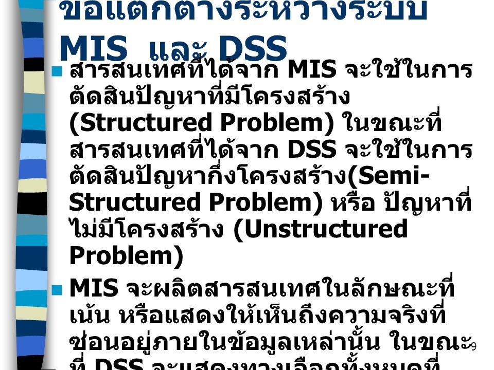 9 ข้อแตกต่างระหว่างระบบ MIS และ DSS สารสนเทศที่ได้จาก MIS จะใช้ในการ ตัดสินปัญหาที่มีโครงสร้าง (Structured Problem) ในขณะที่ สารสนเทศที่ได้จาก DSS จะใ