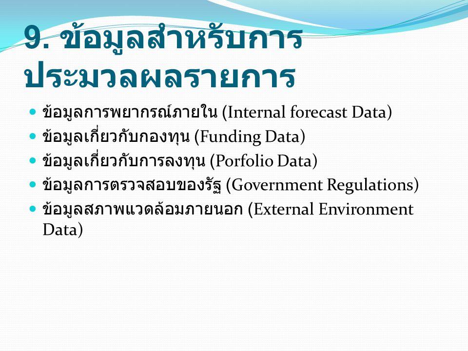 9. ข้อมูลสำหรับการ ประมวลผลรายการ ข้อมูลการพยากรณ์ภายใน (Internal forecast Data) ข้อมูลเกี่ยวกับกองทุน (Funding Data) ข้อมูลเกี่ยวกับการลงทุน (Porfoli