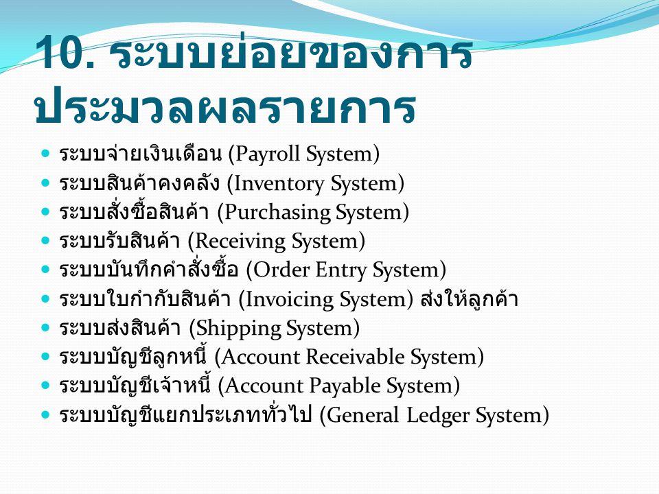 10. ระบบย่อยของการ ประมวลผลรายการ ระบบจ่ายเงินเดือน (Payroll System) ระบบสินค้าคงคลัง (Inventory System) ระบบสั่งซื้อสินค้า (Purchasing System) ระบบรั