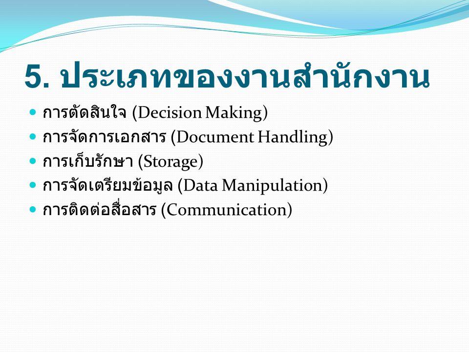 5. ประเภทของงานสำนักงาน การตัดสินใจ (Decision Making) การจัดการเอกสาร (Document Handling) การเก็บรักษา (Storage) การจัดเตรียมข้อมูล (Data Manipulation