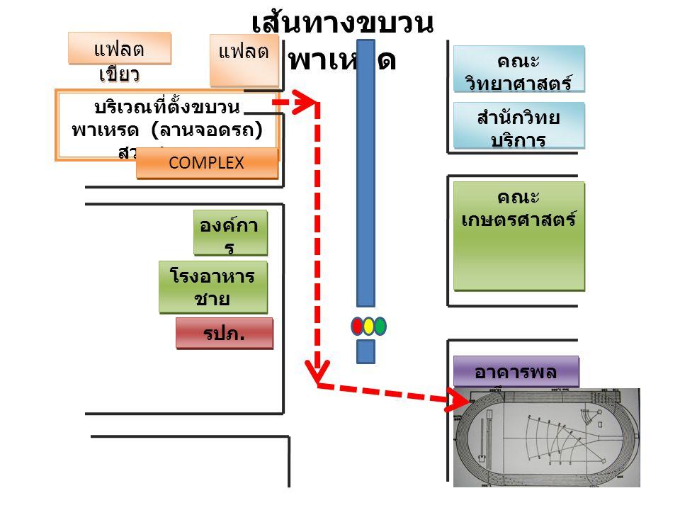 เส้นทางขบวน พาเหรด แฟลต เขียว แฟลต บริเวณที่ตั้งขบวน พาเหรด ( ลานจอดรถ ) สวนสุขภาพ คณะ วิทยาศาสตร์ สำนักวิทย บริการ คณะ เกษตรศาสตร์ รปภ. COMPLEX องค์ก