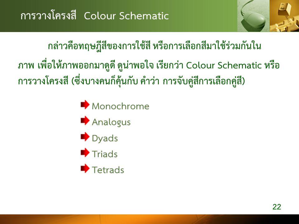 การวางโครงสี Colour Schematic กล่าวคือทฤษฎีสีของการใชสี หรือการเลือกสีมาใชรวมกันใน ภาพ เพื่อใหภาพออกมาดูดี ดูนาพอใจ เรียกวา Colour Schematic หรื