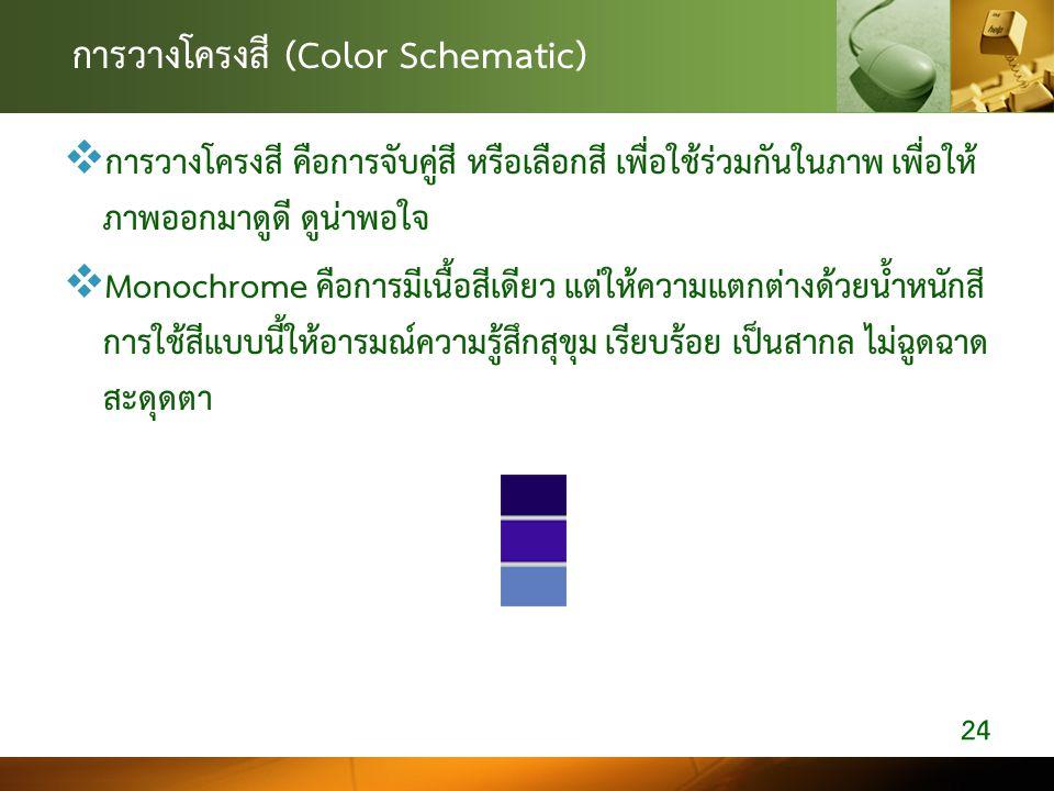 การวางโครงสี (Color Schematic)  การวางโครงสี คือการจับคู่สี หรือเลือกสี เพื่อใช้ร่วมกันในภาพ เพื่อให้ ภาพออกมาดูดี ดูน่าพอใจ  Monochrome คือการมีเนื
