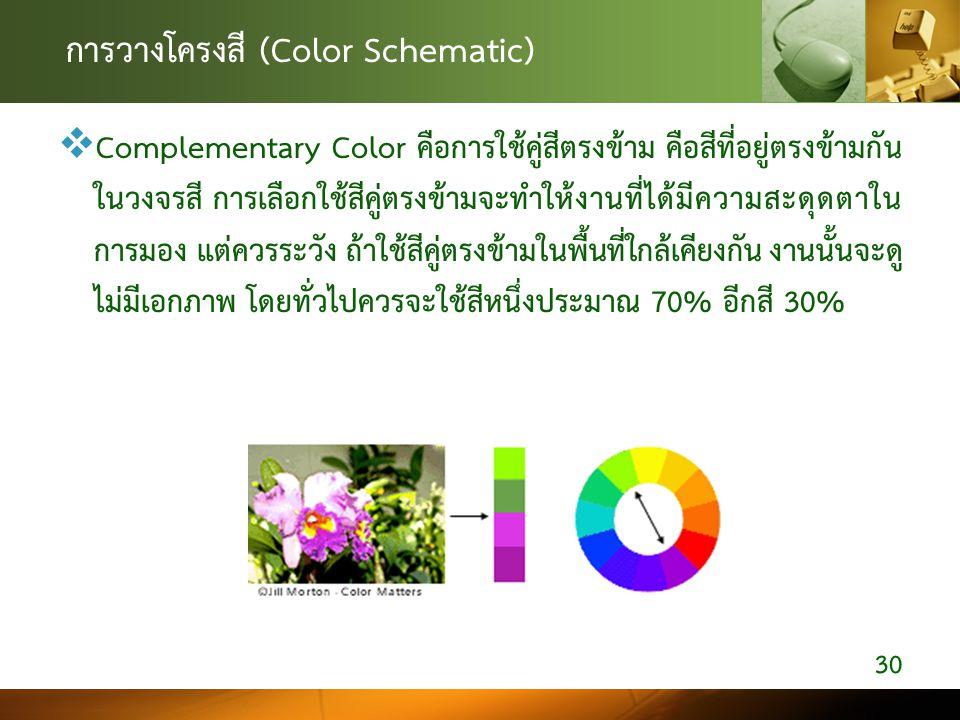 การวางโครงสี (Color Schematic)  Complementary Color คือการใช้คู่สีตรงข้าม คือสีที่อยู่ตรงข้ามกัน ในวงจรสี การเลือกใช้สีคู่ตรงข้ามจะทำให้งานที่ได้มีคว
