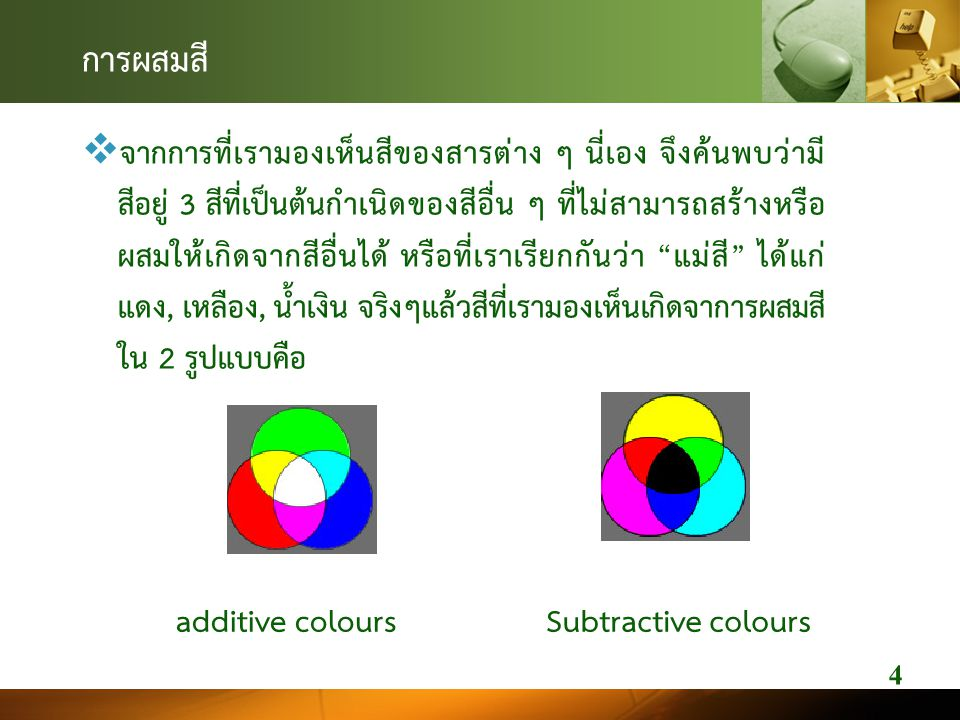 การผสมสี  จากการที่เรามองเห็นสีของสารตาง ๆ นี่เอง จึงคนพบวามี สีอยู 3 สีที่เปนตนกําเนิดของสีอื่น ๆ ที่ไมสามารถสรางหรือ ผสมใหเกิดจากสีอื่นได