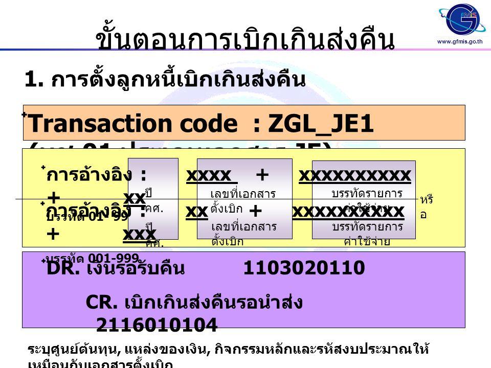 www.gfmis.go.th ขั้นตอนการเบิกเกินส่งคืน ๋ Transaction code : ZGL_JE1 ( บช.01 ประเภทเอกสาร JE) 1.