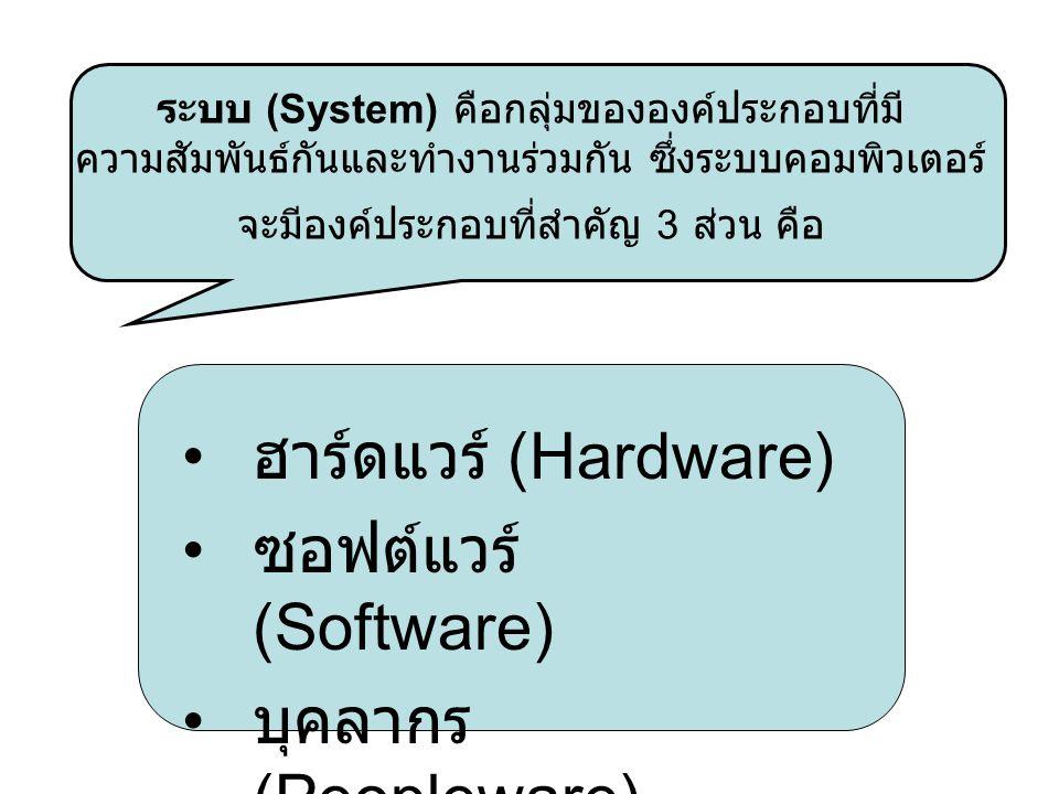 ระบบ (System) คือกลุ่มขององค์ประกอบที่มี ความสัมพันธ์กันและทำงานร่วมกัน ซึ่งระบบคอมพิวเตอร์ จะมีองค์ประกอบที่สำคัญ 3 ส่วน คือ ฮาร์ดแวร์ (Hardware) ซอฟ