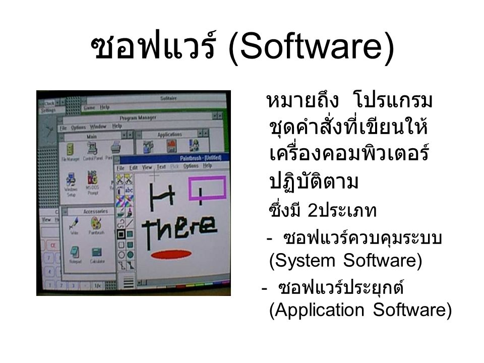ซอฟแวร์ (Software) หมายถึง โปรแกรม ชุดคำสั่งที่เขียนให้ เครื่องคอมพิวเตอร์ ปฏิบัติตาม ซึ่งมี 2 ประเภท - ซอฟแวร์ควบคุมระบบ (System Software) - ซอฟแวร์ป