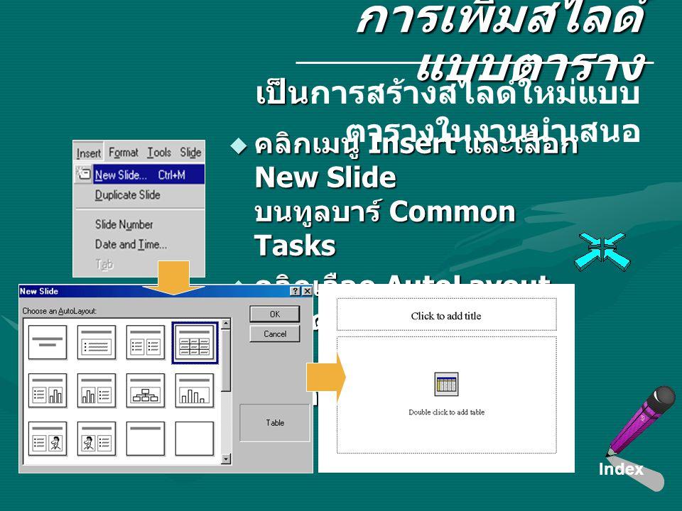 การเพิ่มสไลด์ แบบตาราง  คลิกเมนู Insert และเลือก New Slide บนทูลบาร์ Common Tasks  คลิกเลือก AutoLayout แบบตาราง  คลิก O.K สไลด์ใหม่แบบ ตารางจะปราก