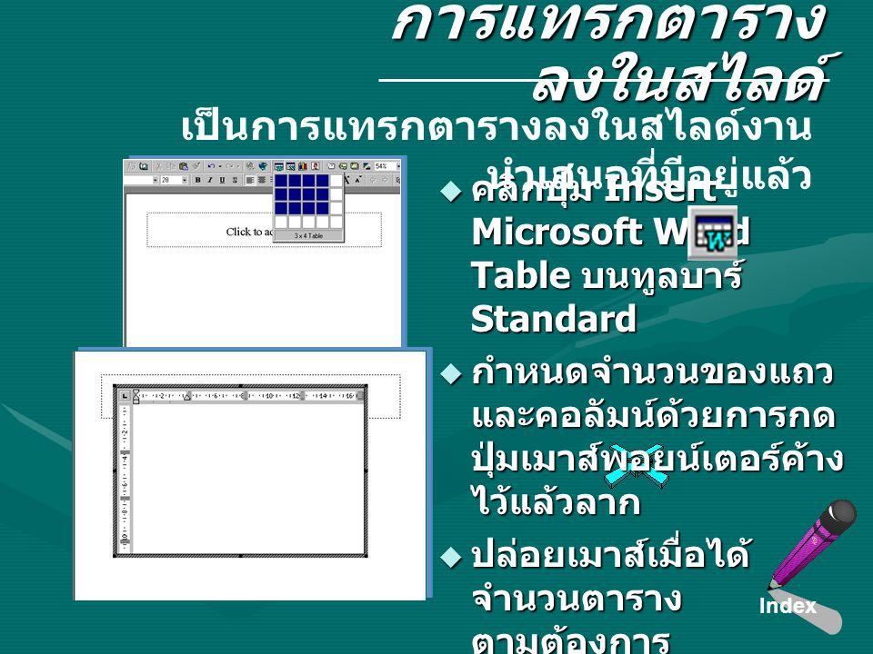 การแทรกตาราง ลงในสไลด์  คลิกปุ่ม Insert Microsoft Word Table บนทูลบาร์ Standard  กำหนดจำนวนของแถว และคอลัมน์ด้วยการกด ปุ่มเมาส์พอยน์เตอร์ค้าง ไว้แล้