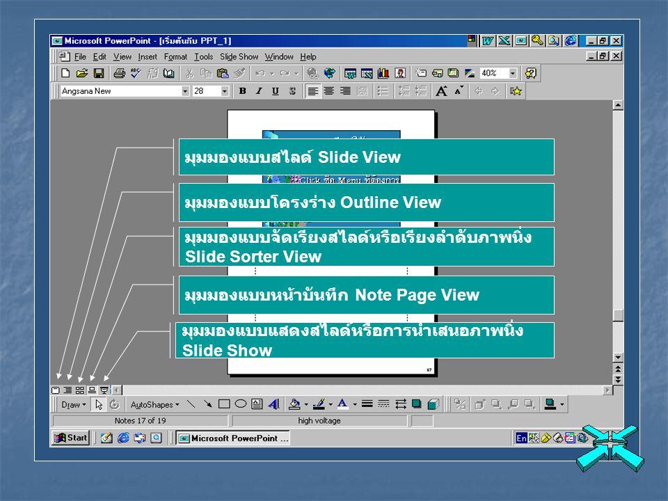 มุมมองแบบสไลด์ Slide View มุมมองแบบหน้าบันทึก Note Page View มุมมองแบบแสดงสไลด์หรือการนำเสนอภาพนิ่ง Slide Show มุมมองแบบโครงร่าง Outline View มุมมองแบ