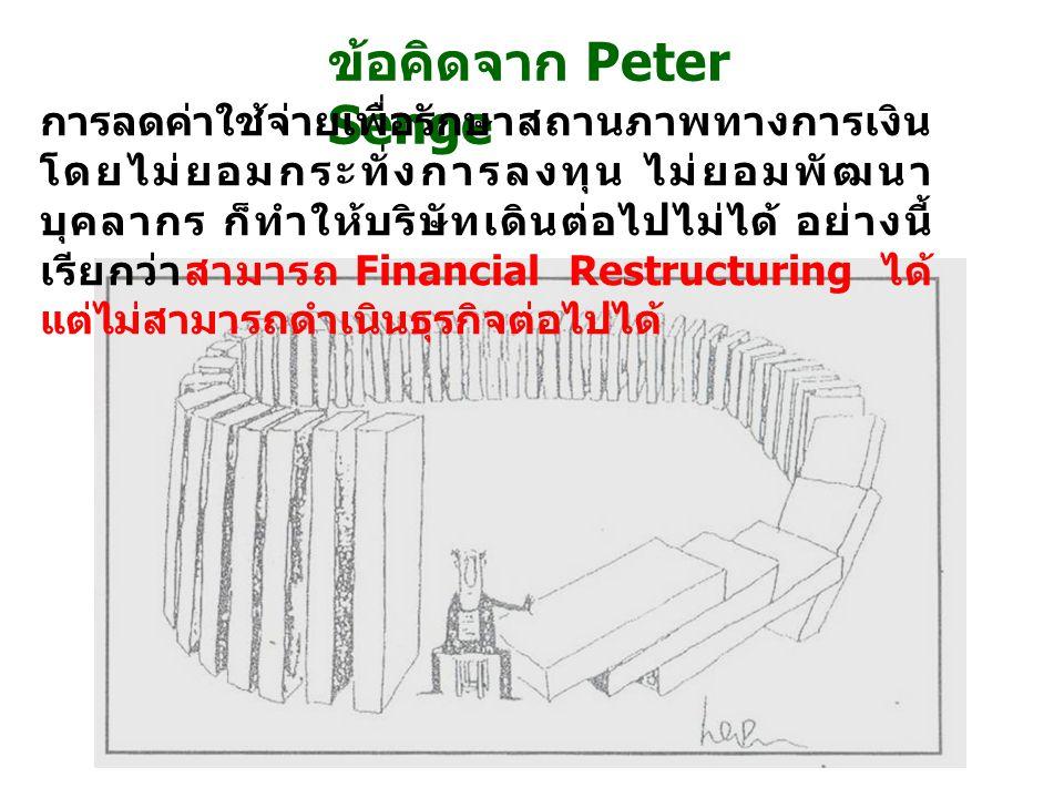 ข้อคิดจาก Peter Senge การลดค่าใช้จ่ายเพื่อรักษาสถานภาพทางการเงิน โดยไม่ยอมกระทั่งการลงทุน ไม่ยอมพัฒนา บุคลากร ก็ทำให้บริษัทเดินต่อไปไม่ได้ อย่างนี้ เร