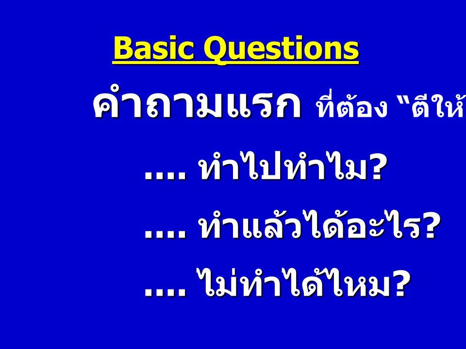 """Basic Questions คำถามแรก คำถามแรก ที่ต้อง """" ตีให้แตก """".... ทำไปทำไม ?.... ทำไปทำไม ?.... ทำแล้วได้อะไร ?.... ทำแล้วได้อะไร ?.... ไม่ทำได้ไหม ?.... ไม่"""