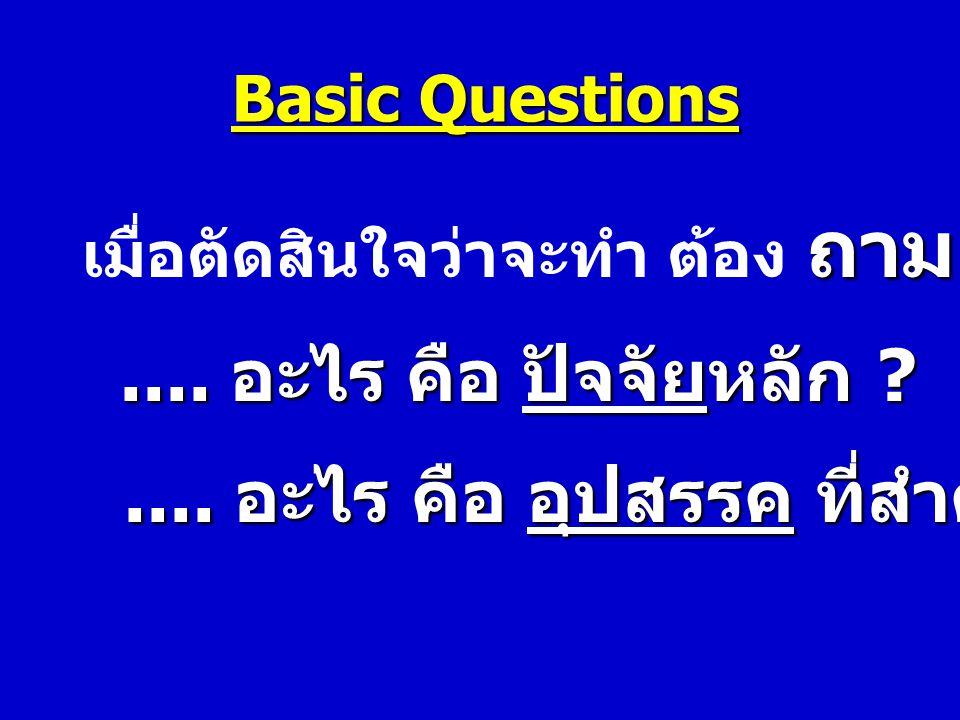 Basic Questions ถาม เมื่อตัดสินใจว่าจะทำ ต้อง ถาม ต่อไปว่า.... อะไร คือ ปัจจัยหลัก ?.... อะไร คือ อุปสรรค ที่สำคัญ ?.... อะไร คือ อุปสรรค ที่สำคัญ ?