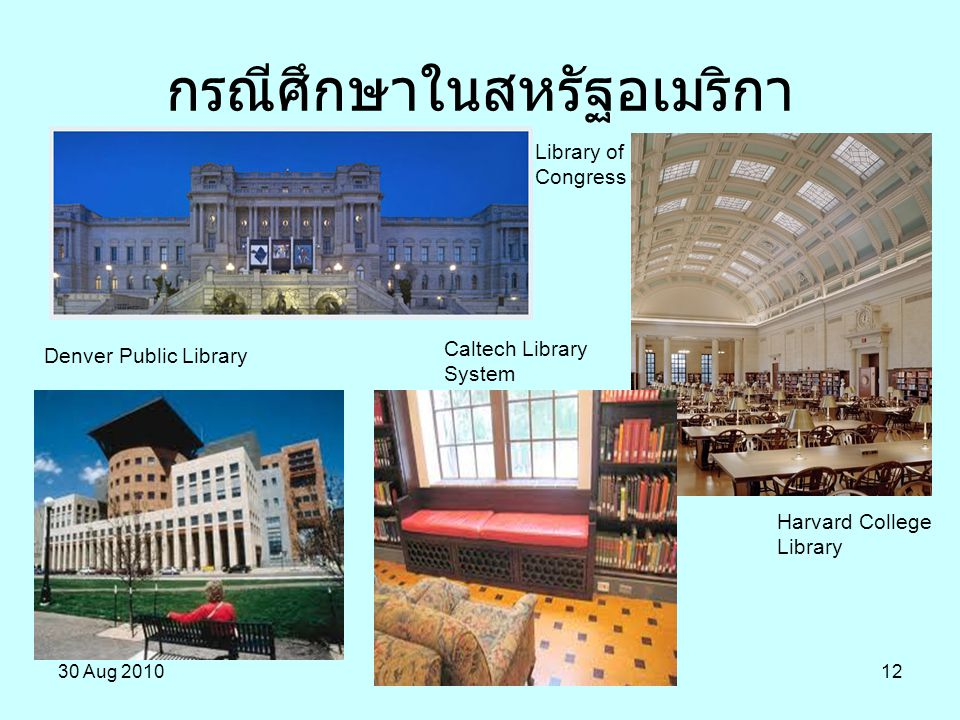 30 Aug 201012 กรณีศึกษาในสหรัฐอเมริกา Library of Congress Harvard College Library Denver Public Library Caltech Library System