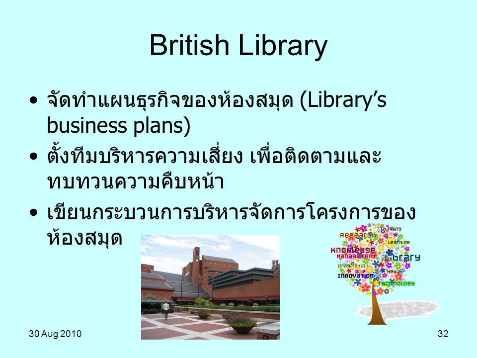 30 Aug 201032 จัดทำแผนธุรกิจของห้องสมุด (Library's business plans) ตั้งทีมบริหารความเสี่ยง เพื่อติดตามและ ทบทวนความคืบหน้า เขียนกระบวนการบริหารจัดการโ