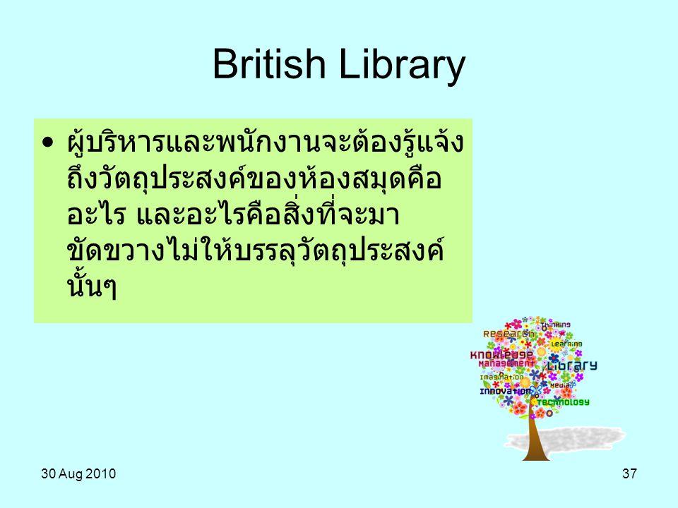 30 Aug 201037 ผู้บริหารและพนักงานจะต้องรู้แจ้ง ถึงวัตถุประสงค์ของห้องสมุดคือ อะไร และอะไรคือสิ่งที่จะมา ขัดขวางไม่ให้บรรลุวัตถุประสงค์ นั้นๆ British L