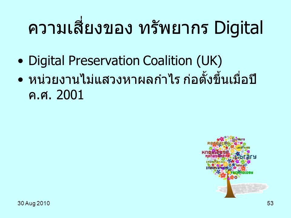 30 Aug 201053 ความเสี่ยงของ ทรัพยากร Digital Digital Preservation Coalition (UK) หน่วยงานไม่แสวงหาผลกำไร ก่อตั้งขึ้นเมื่อปี ค.ศ. 2001