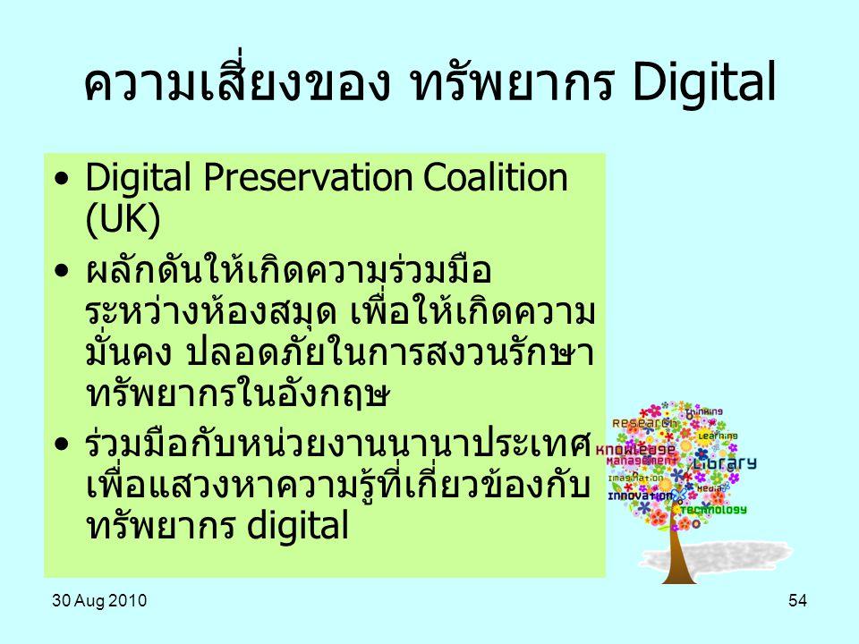30 Aug 201054 ความเสี่ยงของ ทรัพยากร Digital Digital Preservation Coalition (UK) ผลักดันให้เกิดความร่วมมือ ระหว่างห้องสมุด เพื่อให้เกิดความ มั่นคง ปลอ