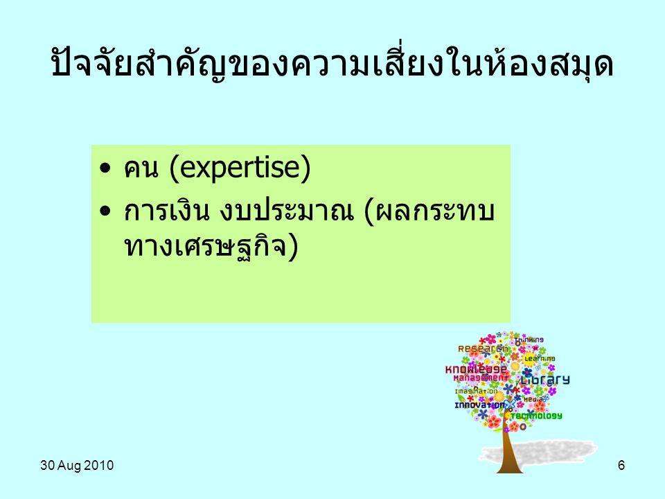 30 Aug 20106 ปัจจัยสำคัญของความเสี่ยงในห้องสมุด คน (expertise) การเงิน งบประมาณ (ผลกระทบ ทางเศรษฐกิจ)