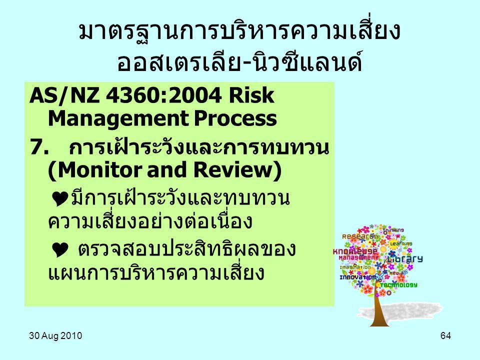 30 Aug 201064 AS/NZ 4360:2004 Risk Management Process 7. การเฝ้าระวังและการทบทวน (Monitor and Review)  มีการเฝ้าระวังและทบทวน ความเสี่ยงอย่างต่อเนื่อ