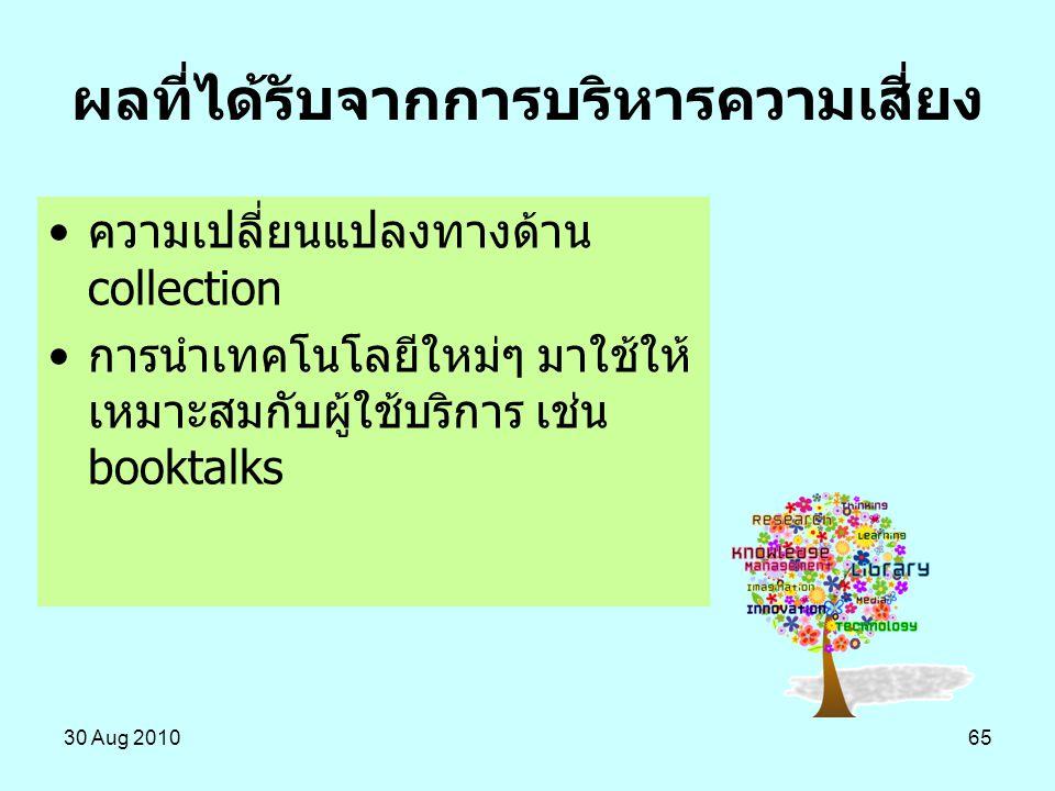 30 Aug 201065 ผลที่ได้รับจากการบริหารความเสี่ยง ความเปลี่ยนแปลงทางด้าน collection การนำเทคโนโลยีใหม่ๆ มาใช้ให้ เหมาะสมกับผู้ใช้บริการ เช่น booktalks