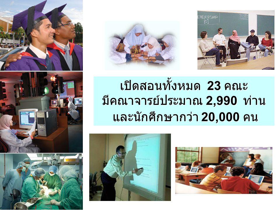 เปิดสอนทั้งหมด 23 คณะ มีคณาจารย์ประมาณ 2,990 ท่าน และนักศึกษากว่า 20,000 คน และนักศึกษากว่า 20,000 คน