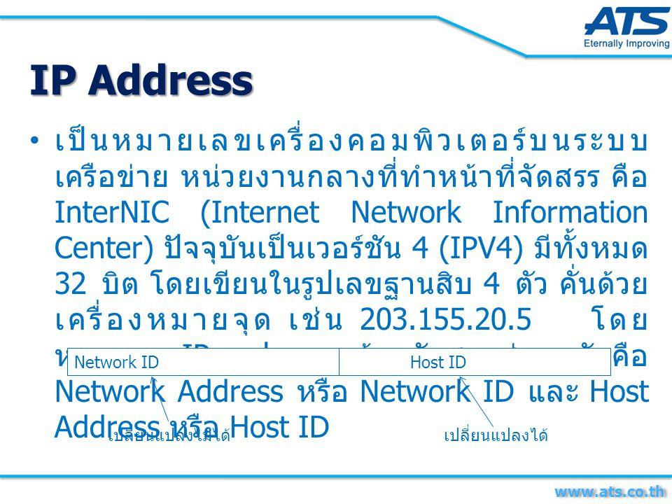 เป็นหมายเลขเครื่องคอมพิวเตอร์บนระบบ เครือข่าย หน่วยงานกลางที่ทำหน้าที่จัดสรร คือ InterNIC (Internet Network Information Center) ปัจจุบันเป็นเวอร์ชัน 4 (IPV4) มีทั้งหมด 32 บิต โดยเขียนในรูปเลขฐานสิบ 4 ตัว คั่นด้วย เครื่องหมายจุด เช่น 203.155.20.5 โดย หมายเลข IP จะประกอบด้วยกันสองส่วนหลักคือ Network Address หรือ Network ID และ Host Address หรือ Host ID Network IDHost ID เปลี่ยนแปลงไม่ได้เปลี่ยนแปลงได้ IP Address