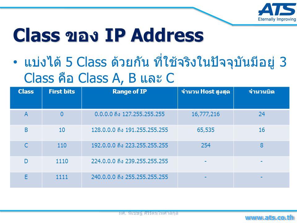 Class A เหมาะสำหรับใช้งานในระบบเครือข่าย ขนาดใหญ่มาก มีเครื่องลูกข่ายได้ถึง 16.7 ล้าน เครื่อง มีค่าได้ตั้งแต่ 0 ถึง 127 บิตแรก จะมีค่า เป็น 0 โดยในการใช้งานจริงหมายเลขเริ่มต้น และ หมายเลขสุดท้ายจะไม่ถูกนำมาใช้งาน สำหรับ หมายเลข 127.0.0.1 เป็นที่สำรองไว้ในการ ทดสอบการทำงานของอุปกรณ์เครือข่าย ที่ เรียกว่า Loopback testing Class B เหมาะสำหรับองค์กรขนาดกลาง มีเครื่อง ลูกข่ายได้ถึง 65,535 เครื่อง มีค่าได้ตั้งแต่ 128 ถึง 191 สองบิตแรกมีค่าเป็น 10 Class C เหมาะสำหรับองค์กรขนาดเล็ก มีเครื่อง ลูกข่ายได้ถึง 254 เครื่อง มีค่าได้ตั้งแต่ 192 ถึง 223 สามบิตแรกจะมีค่าเป็น 110 ผศ.