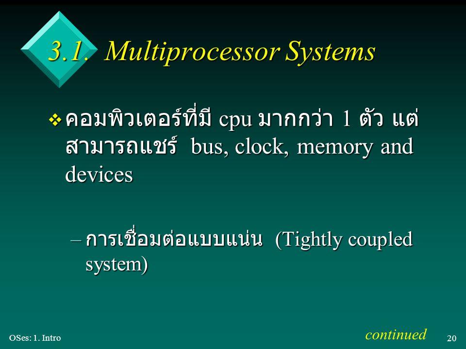 OSes: 1. Intro 20 3.1. Multiprocessor Systems v คอมพิวเตอร์ที่มี cpu มากกว่า 1 ตัว แต่ สามารถแชร์ bus, clock, memory and devices – การเชื่อมต่อแบบแน่น