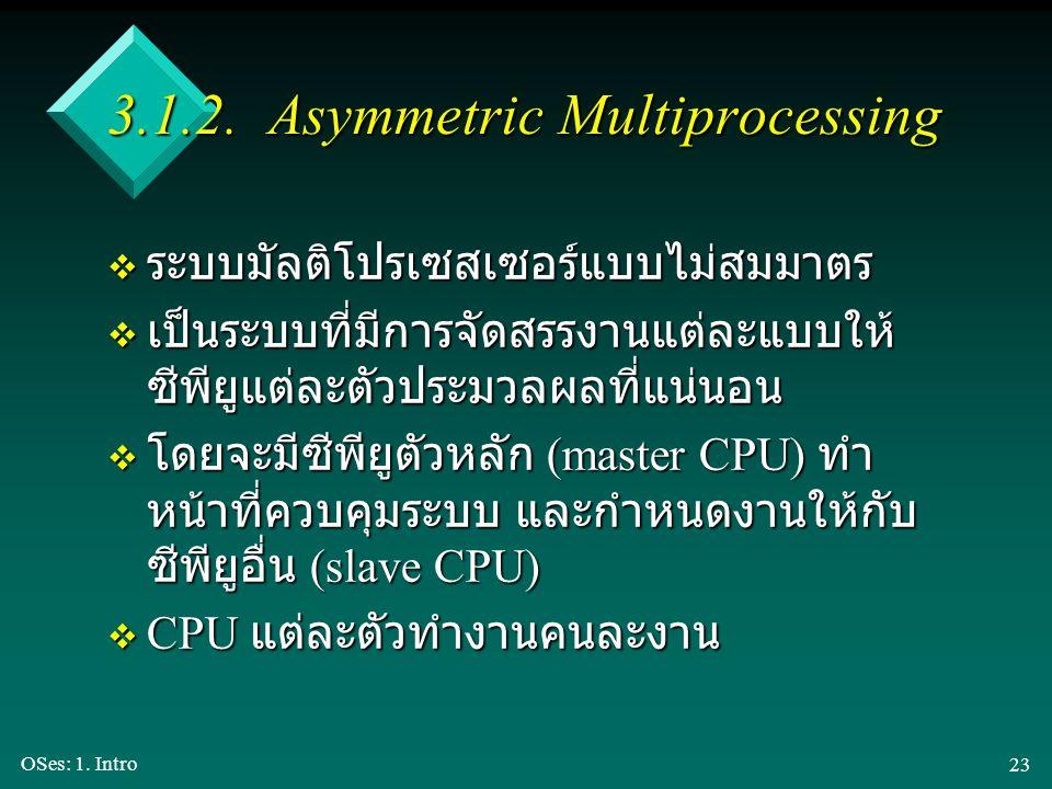 OSes: 1. Intro 23 3.1.2. Asymmetric Multiprocessing v ระบบมัลติโปรเซสเซอร์แบบไม่สมมาตร v เป็นระบบที่มีการจัดสรรงานแต่ละแบบให้ ซีพียูแต่ละตัวประมวลผลที