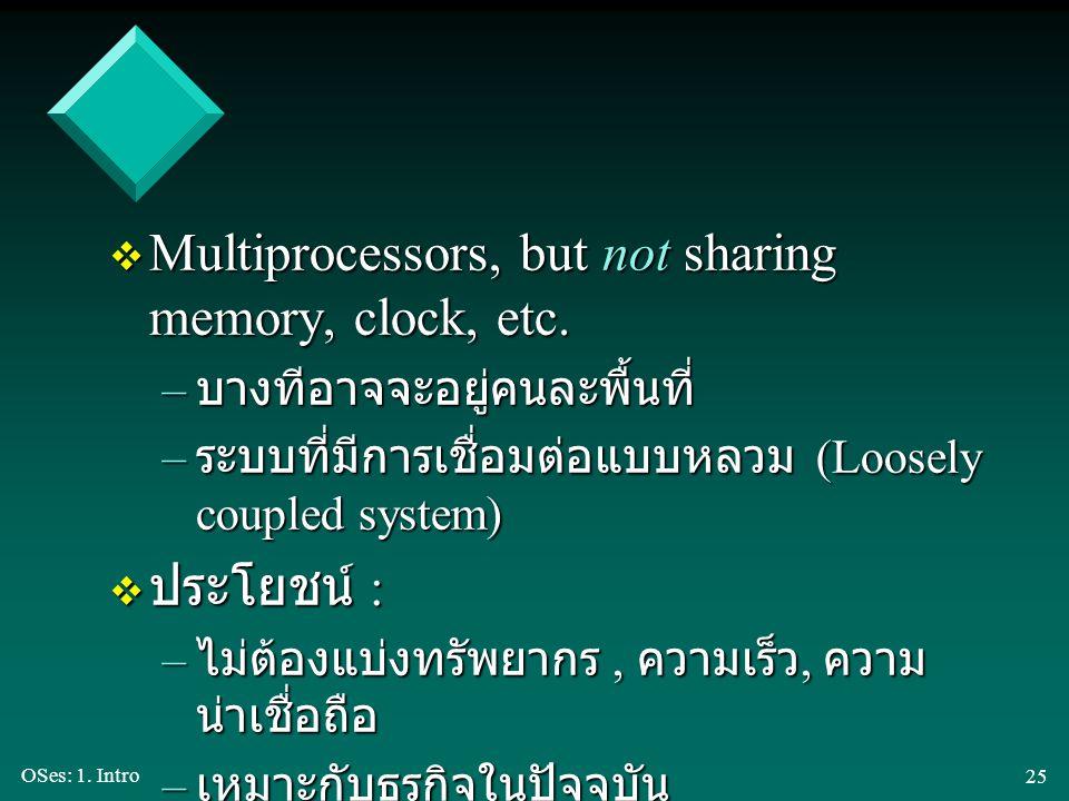 OSes: 1. Intro 25 v Multiprocessors, but not sharing memory, clock, etc. – บางทีอาจจะอยู่คนละพื้นที่ – ระบบที่มีการเชื่อมต่อแบบหลวม (Loosely coupled s