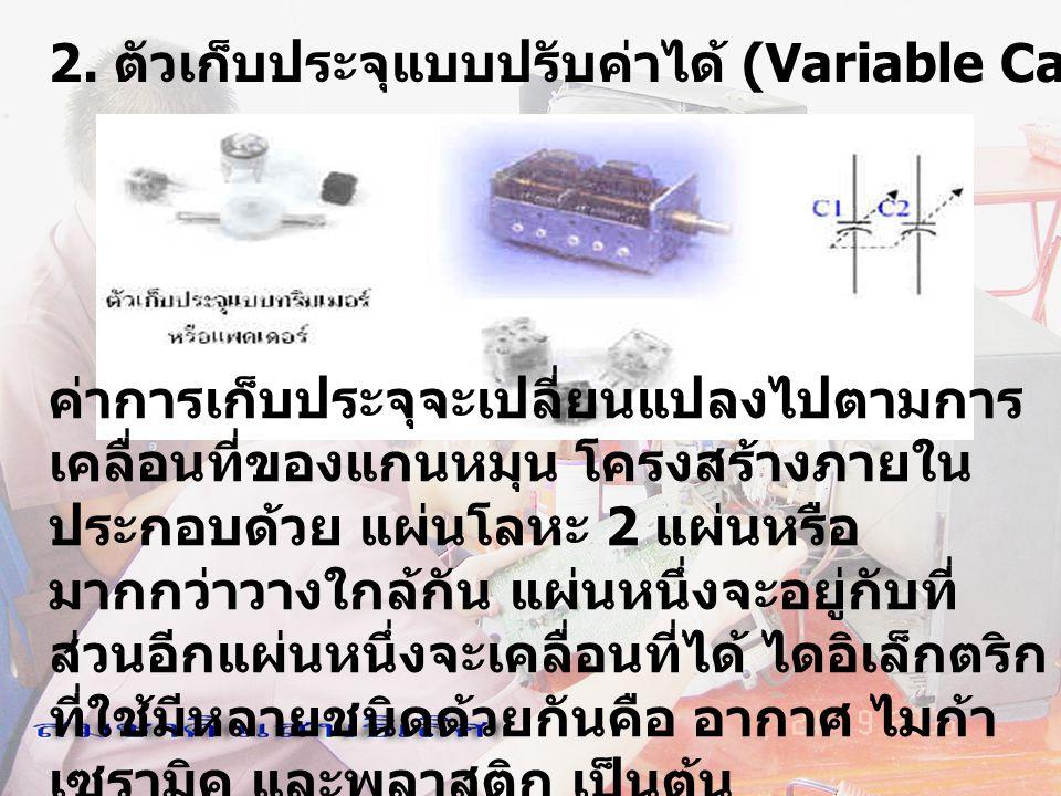 2. ตัวเก็บประจุแบบปรับค่าได้ (Variable Capacitor) ค่าการเก็บประจุจะเปลี่ยนแปลงไปตามการ เคลื่อนที่ของแกนหมุน โครงสร้างภายใน ประกอบด้วย แผ่นโลหะ 2 แผ่นห
