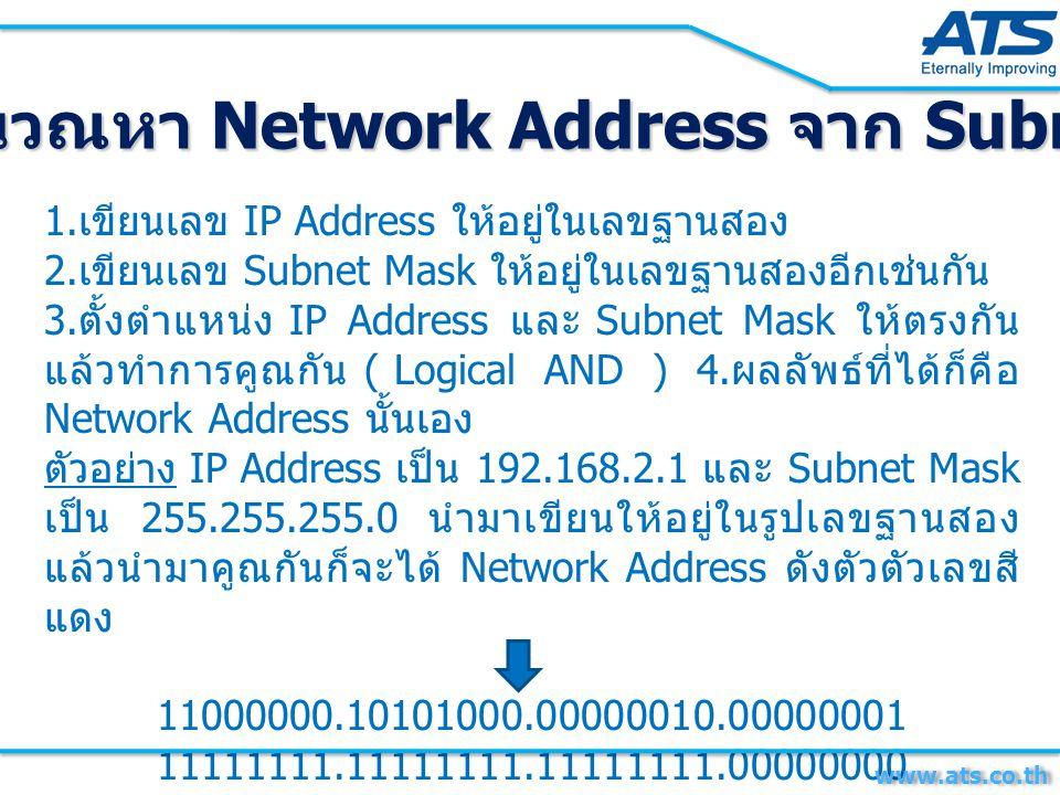1. เขียนเลข IP Address ให้อยู่ในเลขฐานสอง 2. เขียนเลข Subnet Mask ให้อยู่ในเลขฐานสองอีกเช่นกัน 3. ตั้งตำแหน่ง IP Address และ Subnet Mask ให้ตรงกัน แล้