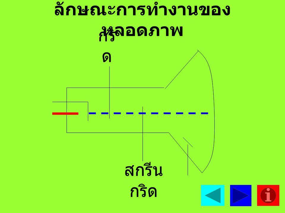 4. สกรีนก ริด มีลักษณะเป็นรูป ทรงกระบอกเหมือนกริดทำ หน้าที่ควบคุมการเคลื่อนที่ ของลำอิเล็กตรอนไปที่ จอภาพ โดยมีไฟเลี้ยง 0-400 V 5. แอโนด ทำหน้าที่ดึงล
