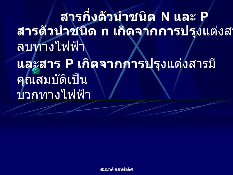 สมชาติ แสนธิเลิศ สารกึ่งตัวนำชนิด N และ P สารตัวนำชนิด n เกิดจากการปรุงแต่งสารมีคุณสมบัติเป็น ลบทางไฟฟ้า และสาร P เกิดจากการปรุงแต่งสารมี คุณสมบัติเป็